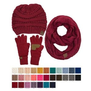 C.C 3pc Unisex Ribbed Knit Beanie Scarves Gloves